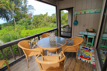 Screened lanai sitting area is a perfect place to enjoy the sunsets.