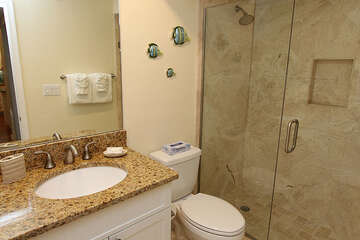 Easy access shower in master bathroom.