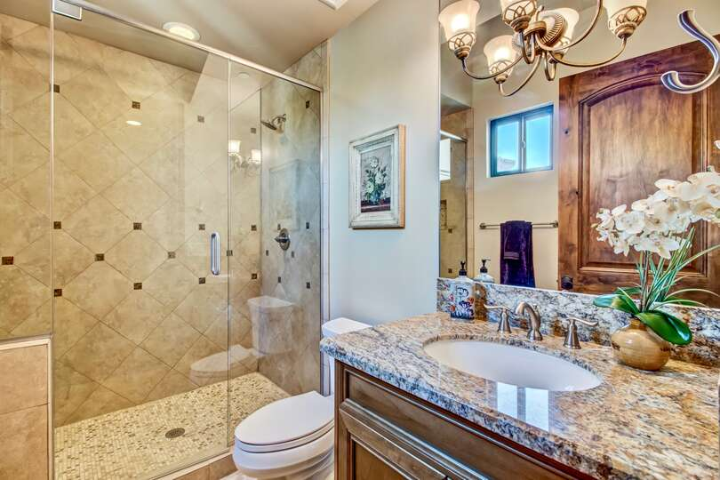 Bathroom with walk in shower, sink with large mirror, and toilet.