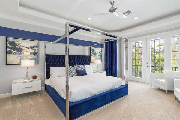 This beautiful master suite features a king-sized bed