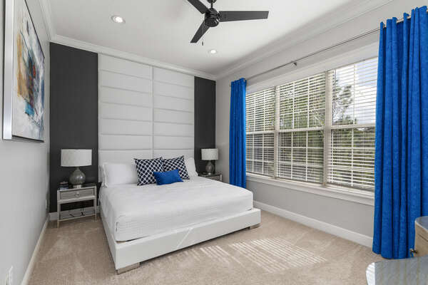 This beautiful second floor master suite features a comfortable king bed and beautiful decor