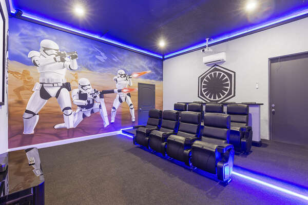 Be greeted by the first order when you approach the movie theater room