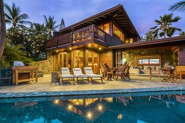 View of our Hawaii Oceanfront Home from the Pool