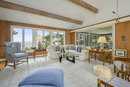 Living Area with Ocean Views, plenty of seating for the family- 66 Rush Drive Chatham Cape Cod New England Vacation Rentals