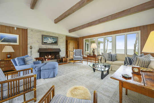Fireplace in Living Area. 66 Rush Drive Chatham Cape Cod New England Vacation Rentals