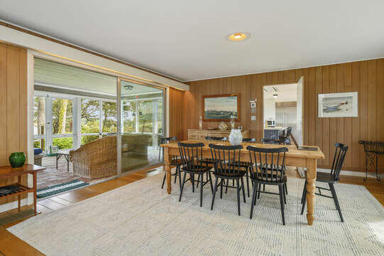 Dining area to Enclosed Sunroom. 66 Rush Drive Chatham Cape Cod New England Vacation Rentals