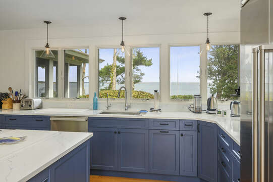Kitchen with Ocean views. 66 Rush Drive Chatham Cape Cod New England Vacation Rentals