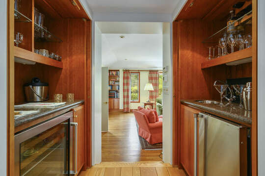 Wet Bar which leads into Study. 66 Rush Drive Chatham Cape Cod New England Vacation Rentals