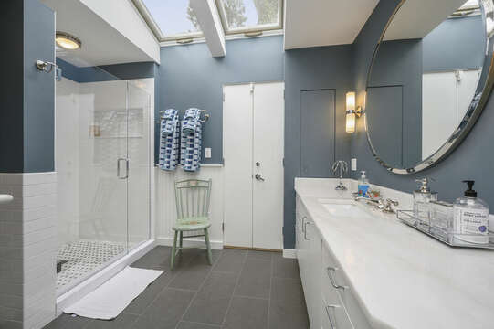 Full bath off the Master Bedroom with Shower and Tub.  All completely updated. 66 Rush Drive Chatham Cape Cod New England Vacation Rentals