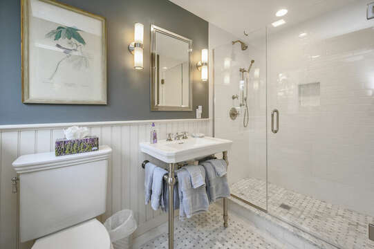 En suite Bathroom with shower for Bedroom #2 with Queen Bed. 66 Rush Drive Chatham Cape Cod New England Vacation Rentals