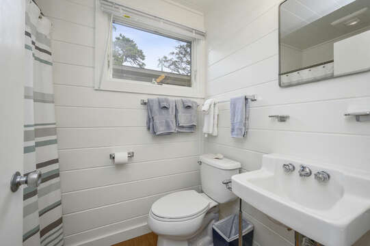 Full Bathroom with shower for Separate Guest Suite with Queen Bed (Bedroom #4). 66 Rush Drive Chatham Cape Cod New England Vacation Rentals