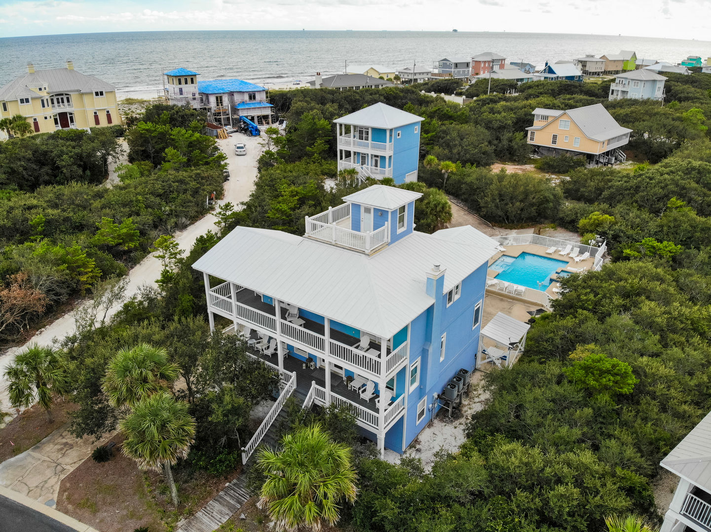 Aerial Picture of our Two Homes, Big Blue and Little Blue.