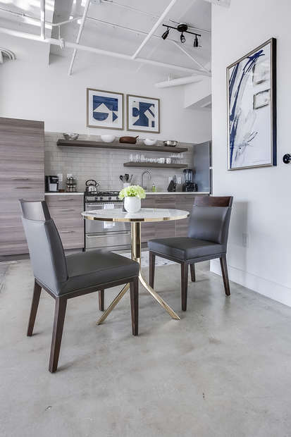 Dining area with seating for two