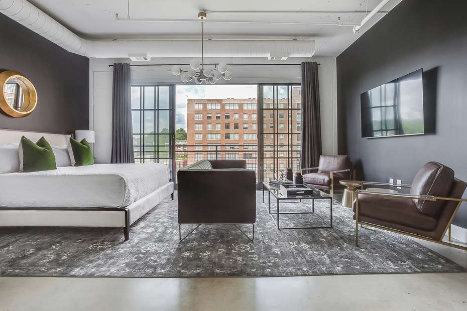The Living/Sleeping area of this Flat At Ponce City Market
