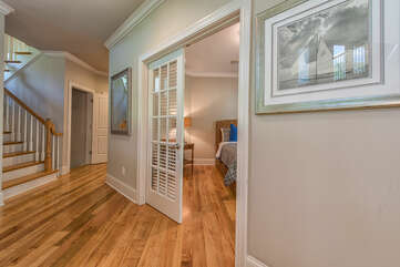 Bedrooms on main level are separate from living areas.