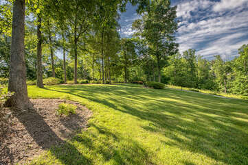 Lots and lots of yard space with perfectly grown green grass. Lots of space for kids to run, play yard games or just take in the views!