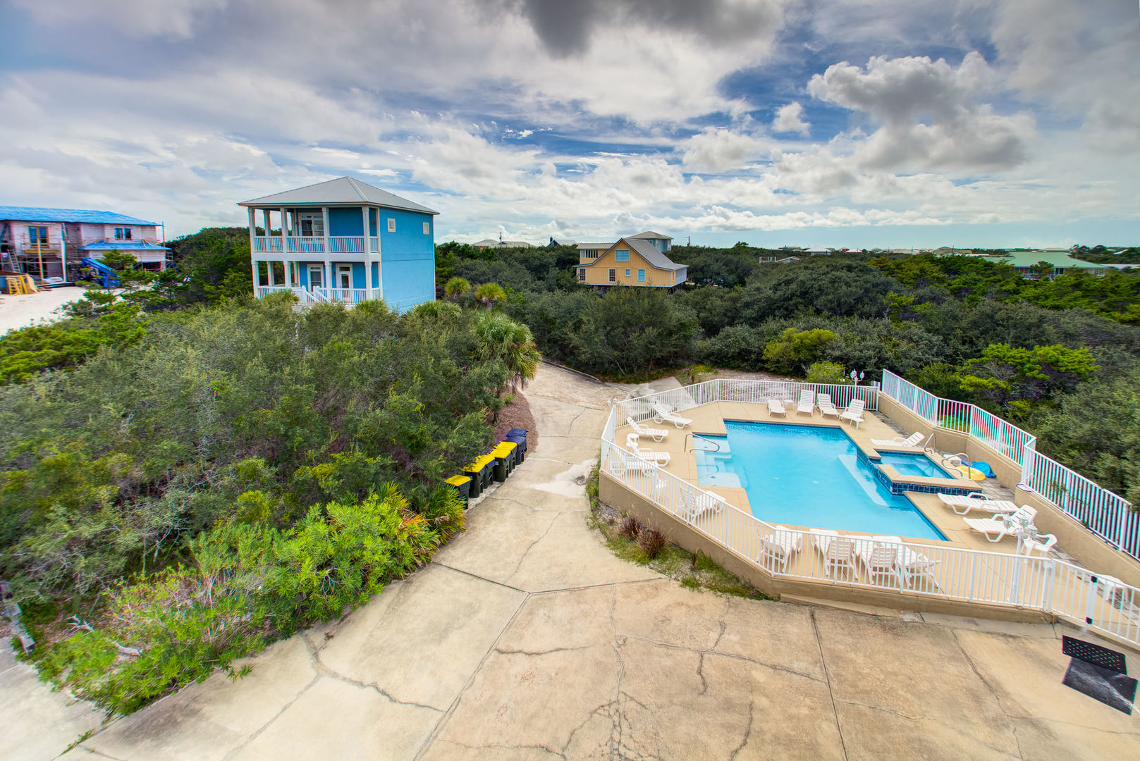 A Bird's Eye View of the Property and Pool.