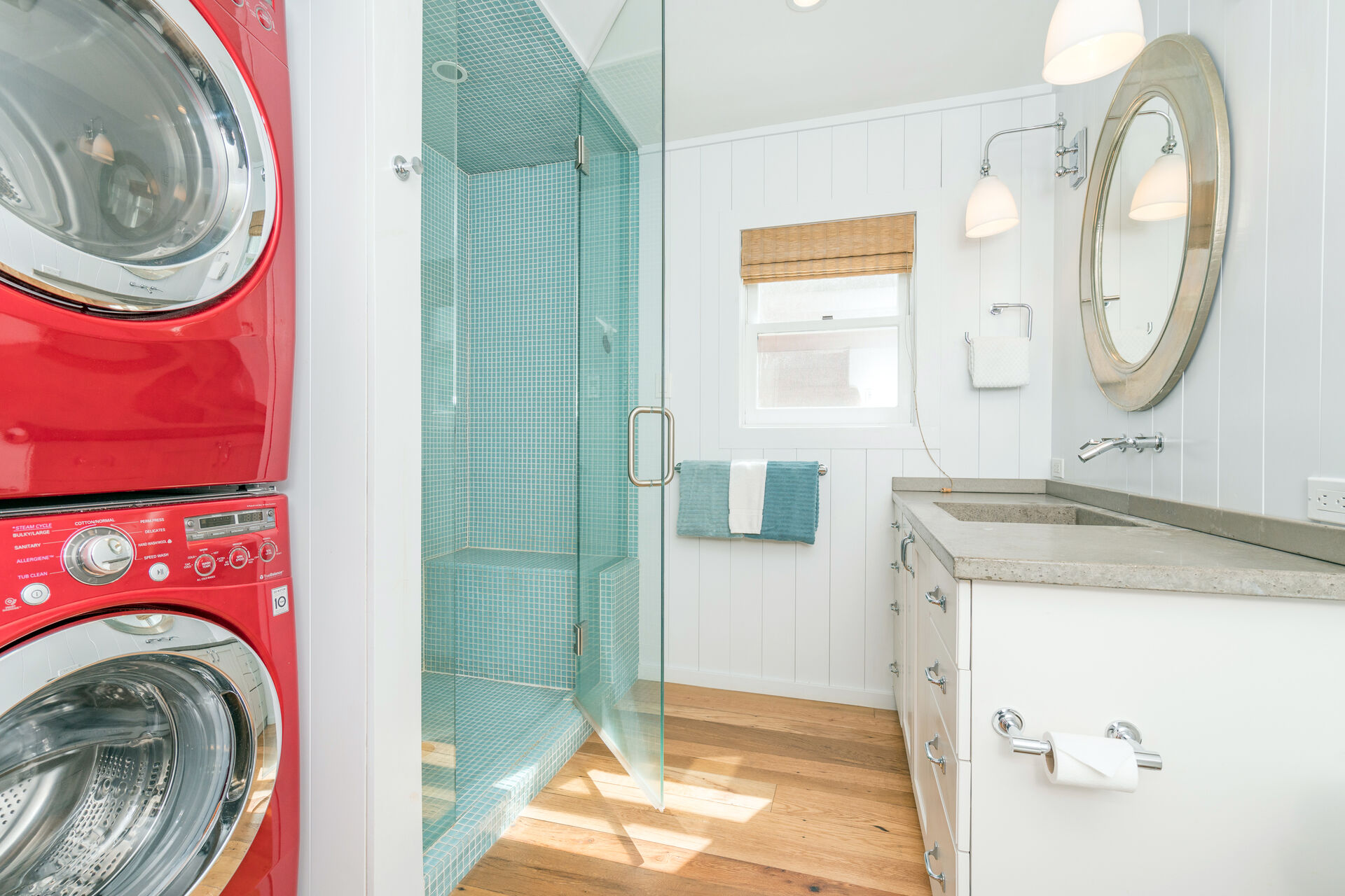 Shower and laundry room.