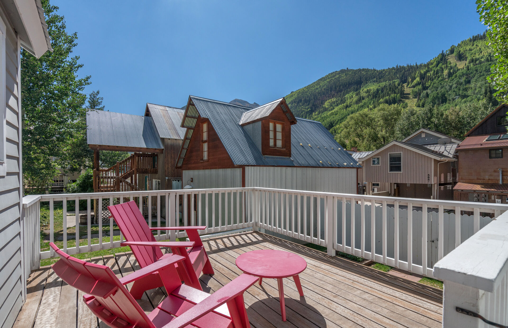 Porch at this telluride vacation cabin.