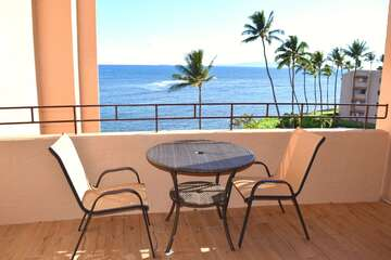Private lanai with oceanfront views