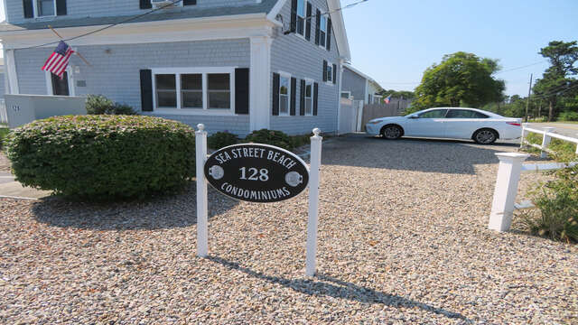 Private parking -driveway fits 2 cars easily-128 Sea Street Unit 11 Dennisport Cape Cod New England Vacation Rentals