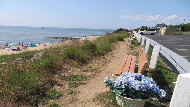 Lots of benches to sit and Enjoy the view! Sea Street Beach Dennisport Cape Cod New England Vacation Rentals