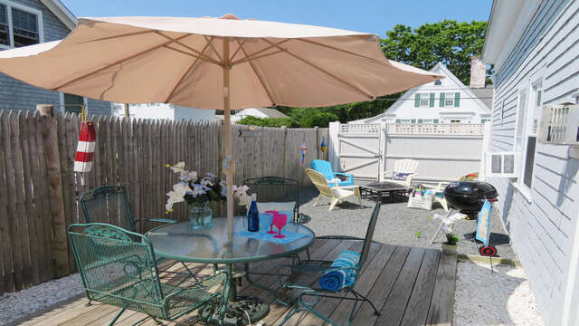 Outdoor dining with grill-128 Sea Street Unit 11 Dennisport Cape Cod New England Vacation Rentals