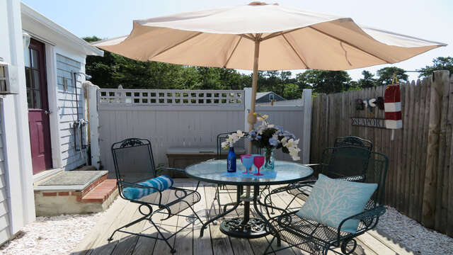 Back private area is great to barbecue- or grab a lobstah roll from the end of the street and enjoy! 128 Sea Street Unit 11 Dennisport Cape Cod New England Vacation Rentals