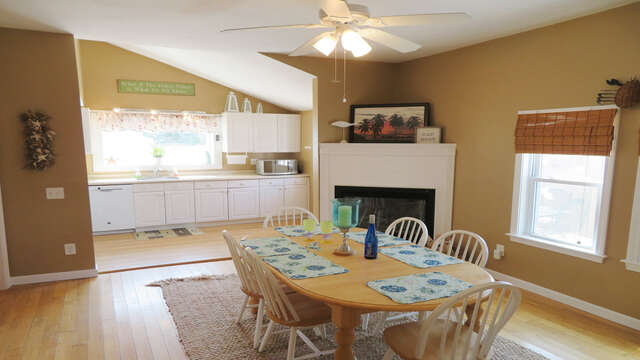 View of dining and kitchen from Living room-128 Sea Street Unit 11 Dennisport Cape Cod New England Vacation Rentals