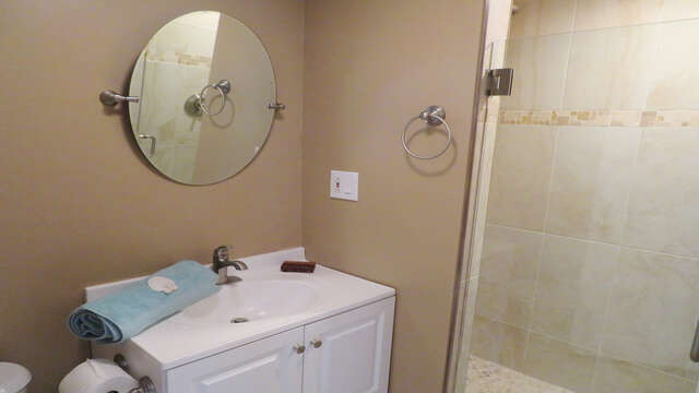 Bathroom 2 with shower on Main floor-Recently renovated 128 Sea Street Unit 11 Dennisport Cape Cod New England Vacation Rentals