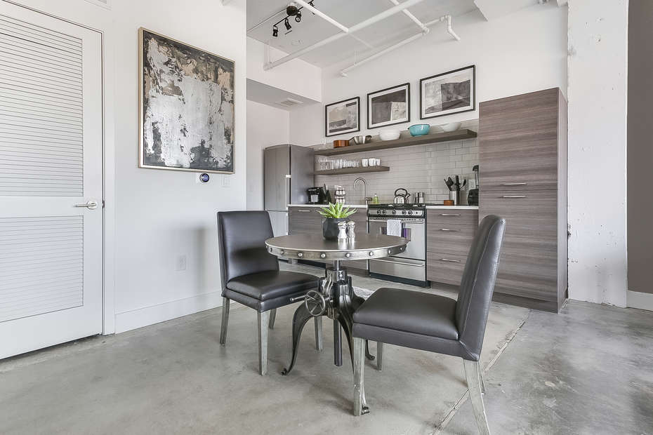 Dining area with seating for two.