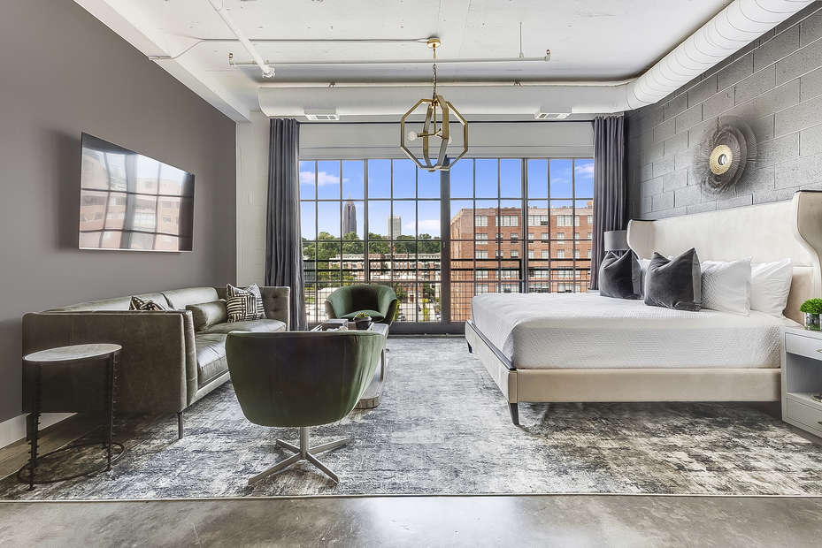 Living/Sleeping area of this Ponce City Flat.