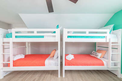 Two twin over twin bunk beds