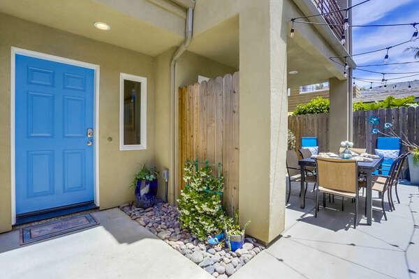 Front Door w/ Outdoor Dining