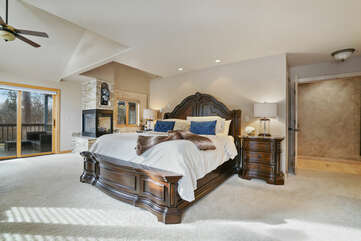 Downstairs Master Suite with King Bed, Sofa Sleeper, and Private Bath