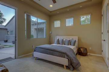Casita bedroom is a good distance from the main house for privacy and has its own attached full bath  Bedroom 2