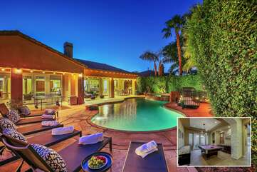Melrose Place is on a huge lot with a detached cassita and 12 ft hedges surrounding the entire yard for privacy