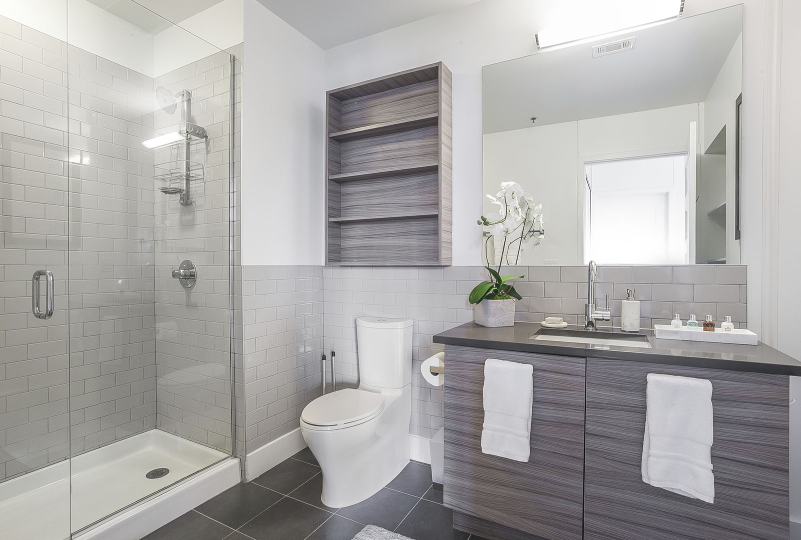 Bathroom of this Ponce Market Apartment, with vanity sink and toilet beside a walk-in shower.