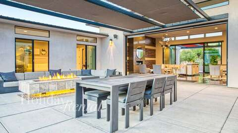 Outdoor dining table and fire pit