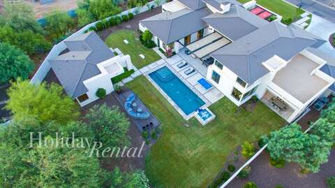 Arial view of the Villa, backyard and guest house