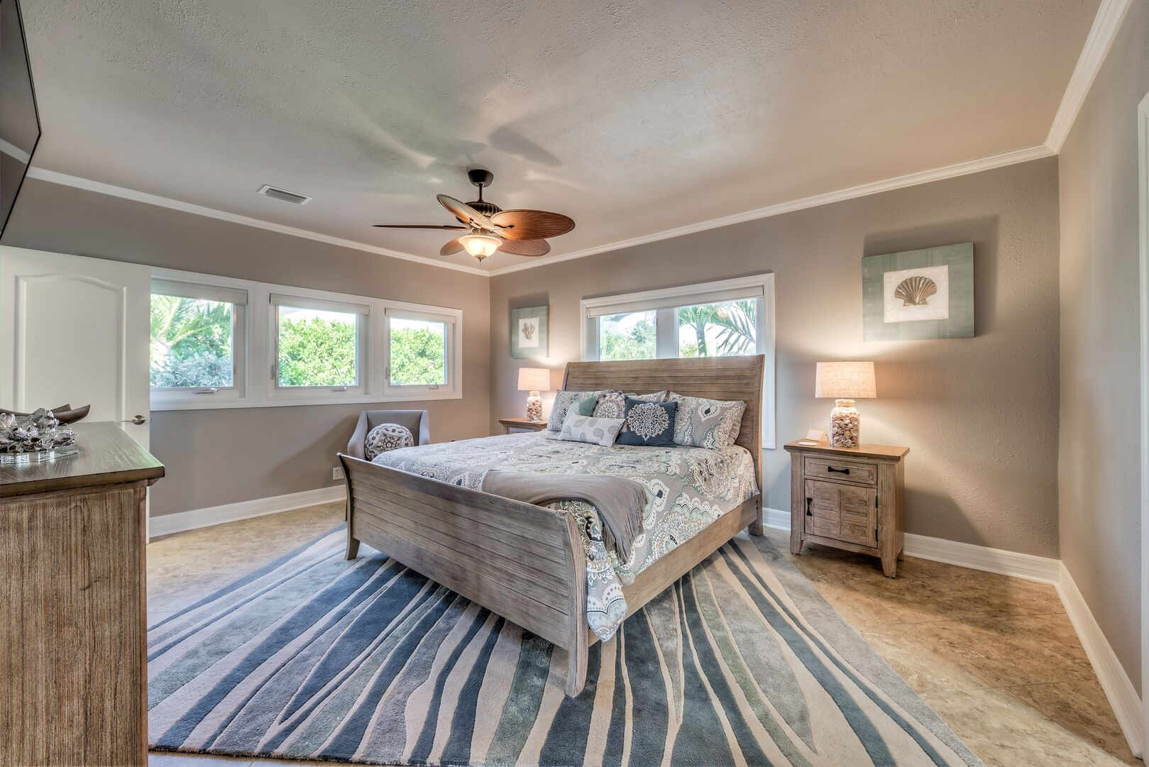 Master Bedroom with king bed in our Fort Myers cottage