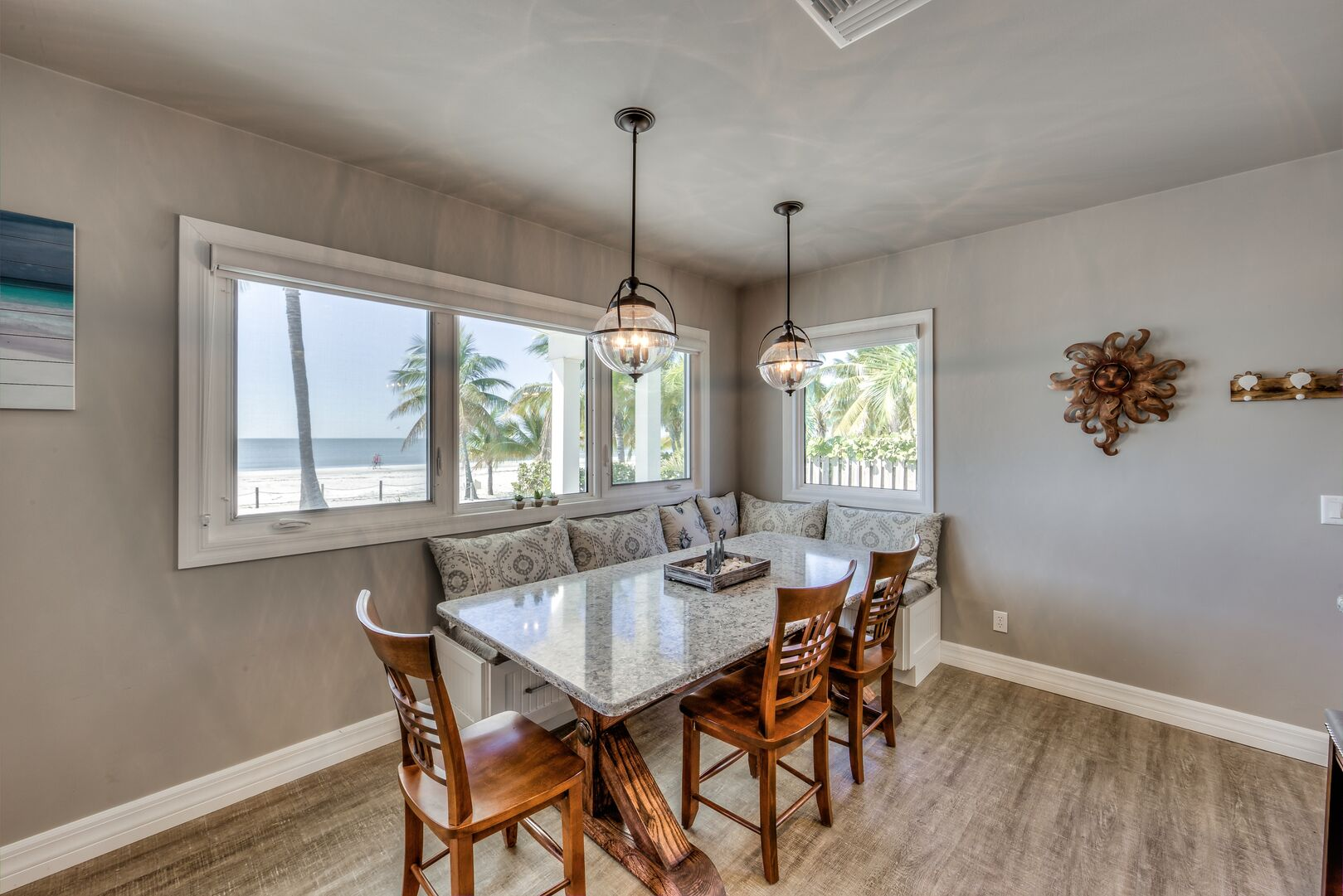 Dining table with bench seating in our Fort Myers cottage