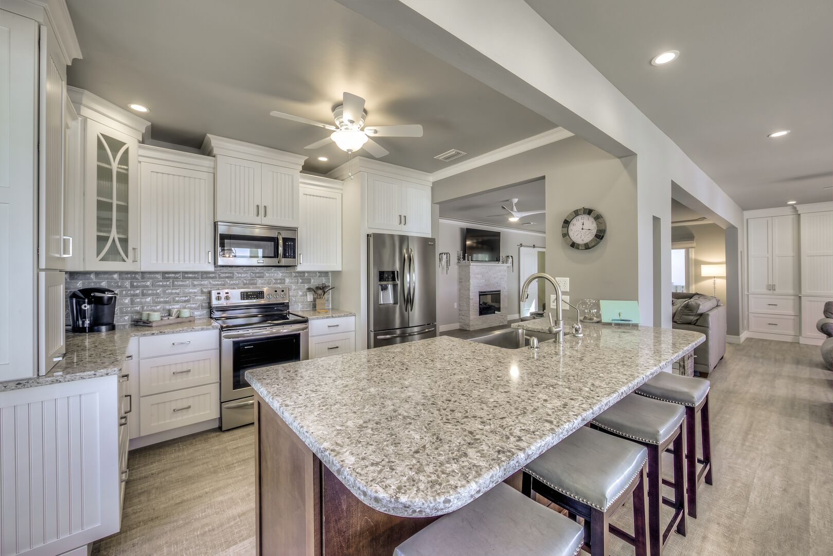 Kitchen with island in our Fort Myers cottage