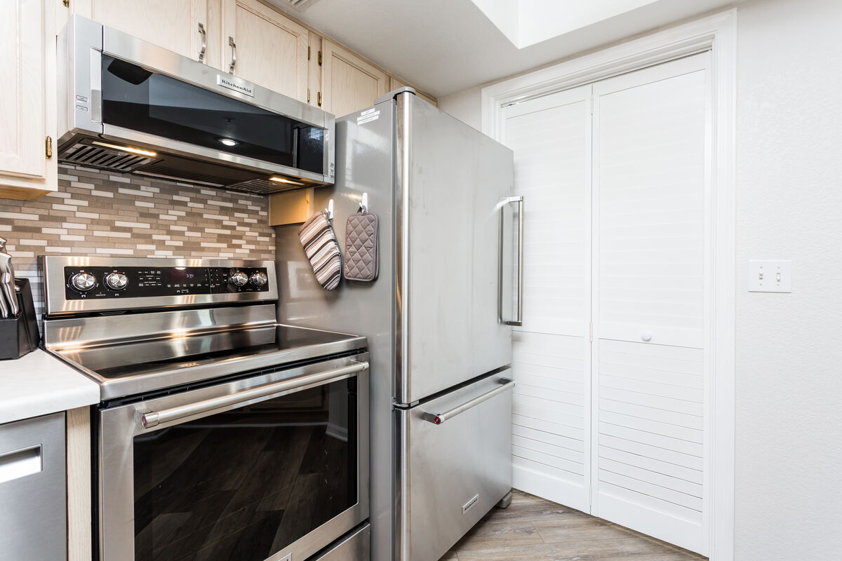 Stainless steel appliances help complete the modern look in the home