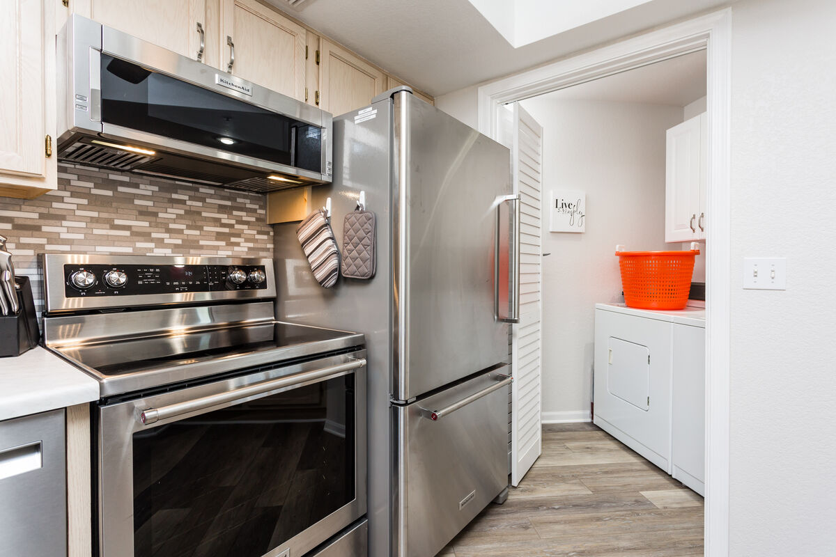 Surprise! A hidden laundry room so you don't have to pack everything you own for a month stay!