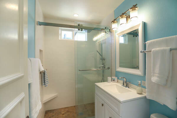 Full Bath in Hallway with a Walk-In Shower