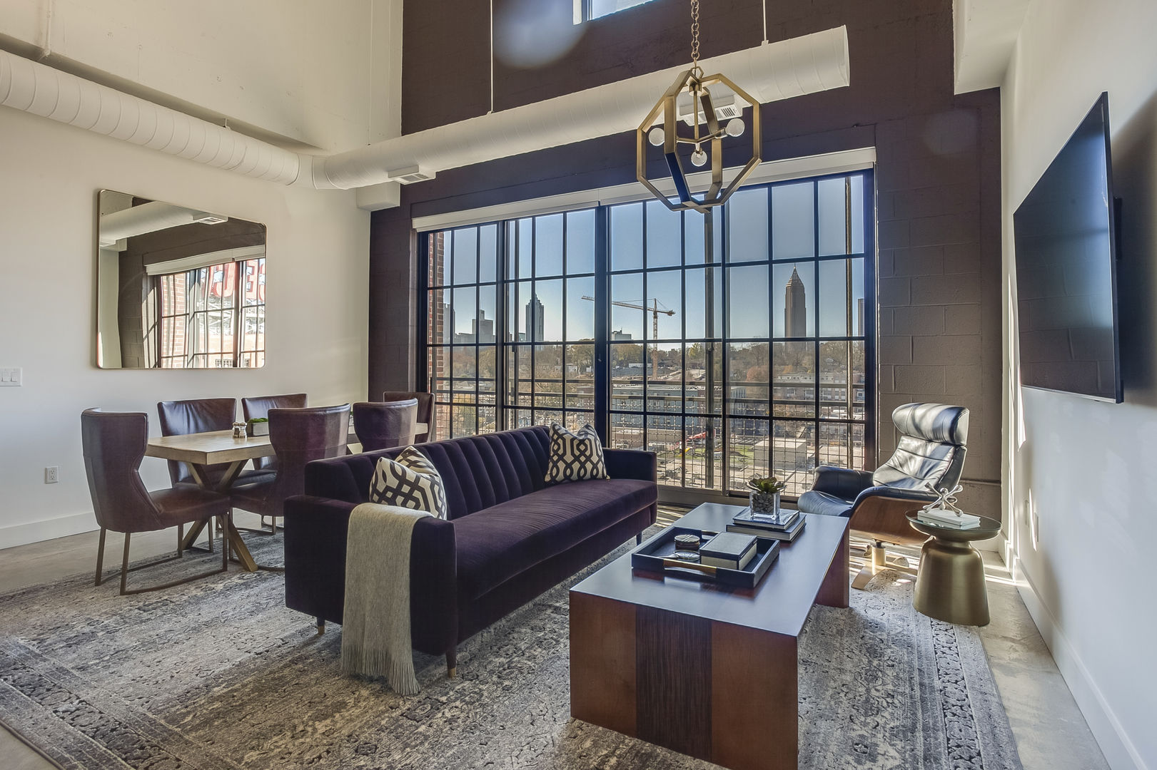 Living and Dining area OF THIS Apartment Near Ponce City Market.