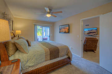 Split bedroom floor plan allows privacy for couples or family members