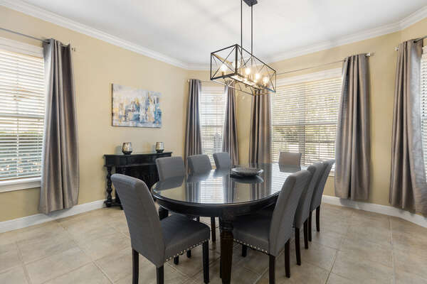 Formal dining area with seating for 8