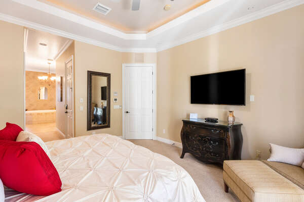 Comfortable master suite complete with a TV